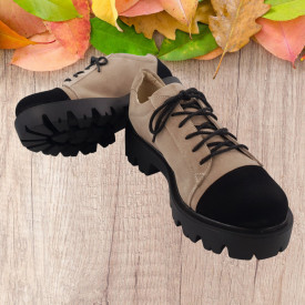 Pantofi dama, SandAli, piele naturala velur, cu siret, talpa usoara, crampoane, bej, negru