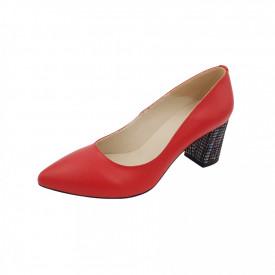 Pantofi dama, SandAli, stiletto, piele naturala, toc gros imbracat, rosu l.c.
