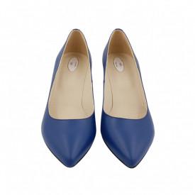 Pantofi dama, SandAli, stiletto, piele naturala, toc gros imbracat, albastru cu flori albastre