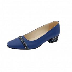 Pantofi dama, SandAli, varf patrat, piele naturala, toc mic gros imbracat, bareta, albastru cu flori albastre