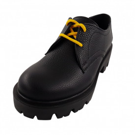 Pantofi oxford dama, SandAli, piele natura bizon, talpa usoara, crampoane mari, negru cu sireturi galbene