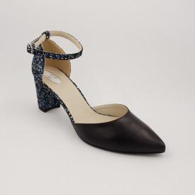 Pantofi sanda dama, piele naturala, toc gros, imbracat, negru cu flori albastre