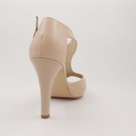 Sandale dama cu platforma piele naturala, bej roz, toc cui