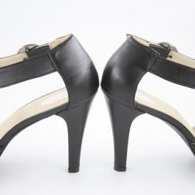 Sandale dama cu platforma piele naturala box, negru, toc cui, Cristina
