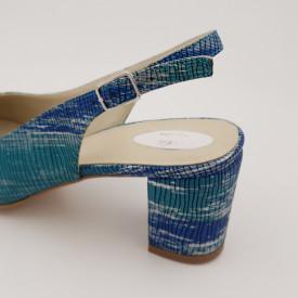 Sandale dama, piele naturala, toc gros, imbracat, argintu, turcoaz, albastru