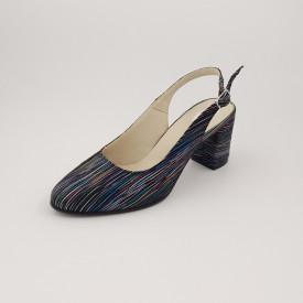Sandale dama, piele naturala, toc gros, imbracat, dungi colorate