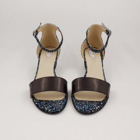 Sandale dama, piele naturala, toc mic gros, negru cu flori albastre