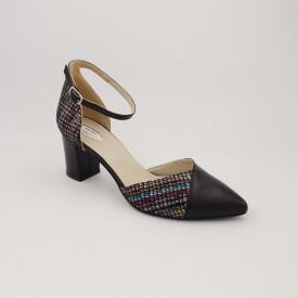 Sandale dama, varf ascutit, piele naturala, toc gros, negru cu linii colorate