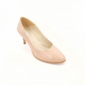 Pantofi dama, SandAli, piele naturala lacuit, toc cui, bej
