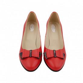 Pantofi dama, SandAli, piele naturala, toc gros imbracat, funda, rosu l.c.
