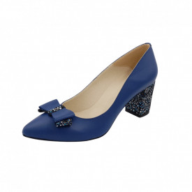 Pantofi dama, SandAli, stiletto, piele naturala, toc gros imbracat, funda, albastru cu flori albastre