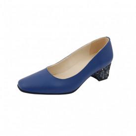 Pantofi dama, SandAli, varf patrat, piele naturala, toc gros imbracat, albastru cu flori albastre