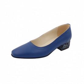 Pantofi dama, SandAli, varf patrat, piele naturala, toc mic gros imbracat, albastru cu flori albastre