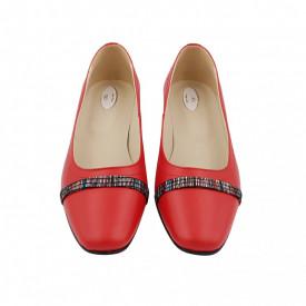 Pantofi dama, SandAli, varf patrat, piele naturala, toc mic gros imbracat, bareta, rosu cu linii colorate