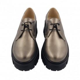 Pantofi oxford dama, SandAli, piele naturala bizon, talpa cu crampoane, bronz