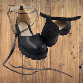 Pantofi sanda dama, SandAli, piele naturala, barete cu sireturi, talpa usoara, crampoane, imprimeu buline maro alb, negru