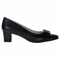 Pantofi dama, piele naturala, toc gros, funda, negru