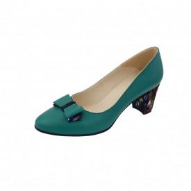 Pantofi dama, SandAli, piele naturala, toc gros imbracat, funda, verde cu patratele colorate