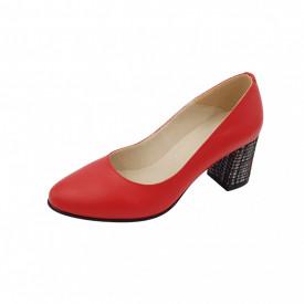 Pantofi dama, SandAli, piele naturala, toc gros imbracat, rosu l.c.