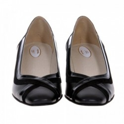 Pantofi dama, SandAli, piele naturala, toc gros, negru, Cleopatra