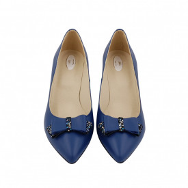 Pantofi dama, SandAli, stiletto, piele naturala, toc gros imbracat, funda, albastru f.a.