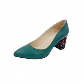 Pantofi dama, SandAli, stiletto, piele naturala, toc gros imbracat, verde pa.c.