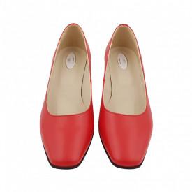 Pantofi dama, SandAli, varf patrat, piele naturala, toc gros imbracat, rosu cu linii colorate