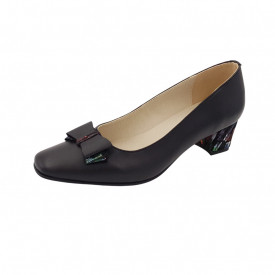 Pantofi dama, SandAli, varf patrat, piele naturala, toc gros imbracat, funda, negru cu patratele colorate