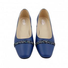 Pantofi dama, SandAli, varf patrat, piele naturala, toc mic gros imbracat, bareta, albastru f.a.