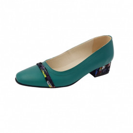 Pantofi dama, SandAli, varf patrat, piele naturala, toc mic gros imbracat, bareta, verde cu patratele colorate
