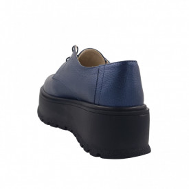 Pantofi oxford dama, SandAli, piele naturala bizon, talpa inalta, bleumarin