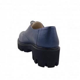 Pantofi oxford dama, SandAli, piele naturala bizon, talpa usoara, crampoane mari, bleumarin