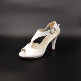 Sandale dama cu platforma piele naturala, alb, toc cui, Cristina
