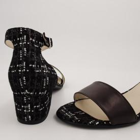 Sandale dama, piele naturala, toc mic gros, negru cu carouri maro alb