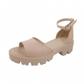 Sandale dama, SandAli, piele naturala, bareta cu catarama, talpa usoara, crampoane, bej, linii aurii