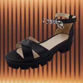 Sandale dama, SandAli, piele naturala, doua barete incrucisate, sireturi colorate, talpa usoara, crampoane, imprimeu negru cu puncte albe