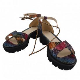 Sandale dama, SandAli, piele naturala, doua barete incrucisate, sireturi colorate, talpa usoara, crampoane, imprimeu sarpe colorat