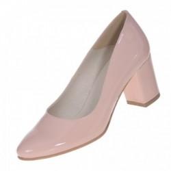 Pantofi dama, SandAli, piele naturala lacuit, toc gros, bej, Carina