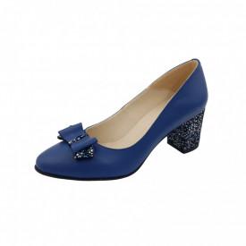 Pantofi dama, SandAli, piele naturala, toc gros imbracat, funda, albastru f.a.