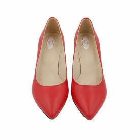 Pantofi dama, SandAli, stiletto, piele naturala, toc gros imbracat, rosu cu linii colorate