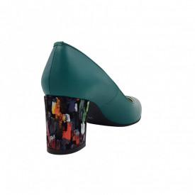 Pantofi dama, SandAli, stiletto, piele naturala, toc gros imbracat, verde cu patratele colorate