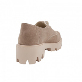 Pantofi oxford dama, SandAli, piele naturala velur, talpa usoara, crampoane mari, bej