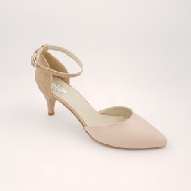 Pantofi sanda dama, piele naturala, toc cui, imbracat, bej cu puncte