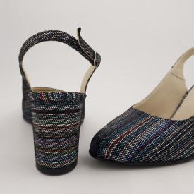 Sandale dama, piele naturala, toc gros, imbracat, linii colorate