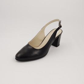 Sandale dama, piele naturala, toc gros, negru box