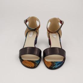 Sandale dama, piele naturala, toc mic gros, negru cu sarpe colorat