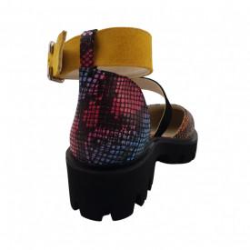 Sandale dama, SandAli, piele naturala, doua barete lata cu catarame, talpa usoara, crampoane, imprimeu sarpe colorat