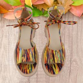 Sandale dama, SandAli, piele naturala, sireturi colorate, talpa usoara, crampoane, imprimeu picturi colorate