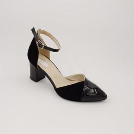 Sandale dama, varf ascutit, piele naturala, toc gros, negru lacuit velur