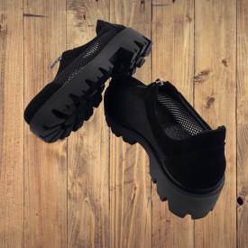 Pantofi dama, SandAli, piele naturala, plasa, fermoar, talpa usoara, crampoane, negru